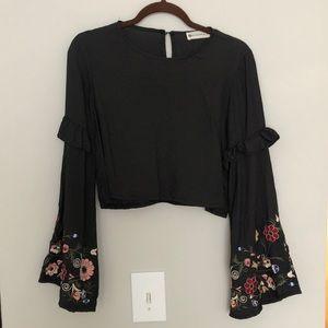 Black floral embroidered crop top